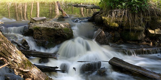 Water, Flowing, River, Surface, Ruptured, Weir, At