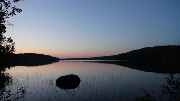Lake, After Sunset, Dusk, Reflection, Sunset Landscape
