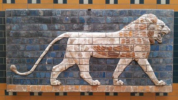 Istanbul, Museum, Turkish, Lion, Fresca, Wall, Art