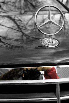 Benz, Daimler, Black And White, Brand, Star, Car