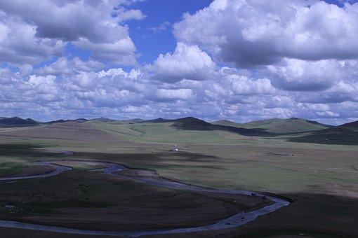 Inner Mongolia, Prairie, Blue Sky