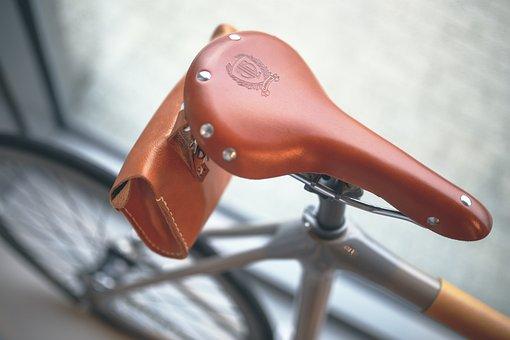 Bicycle Saddle, Bicycle, Bike, Saddle, Brown, Leather
