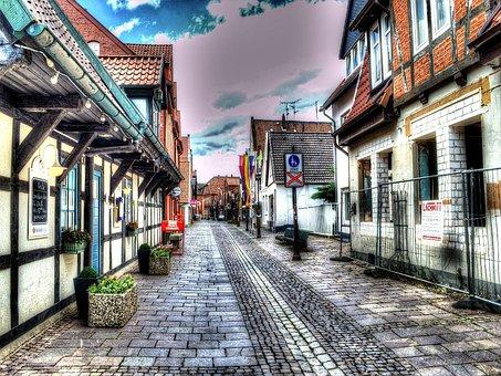 Hdr, City, Nienburg, Weser, Road, Fachwerkhäuser