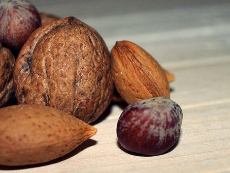 Walnut, Nuts, Hazelnut, Almonds, Food, Brown, Tasty
