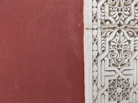 Wall, Marrakech, Pattern, Ox Blood Red