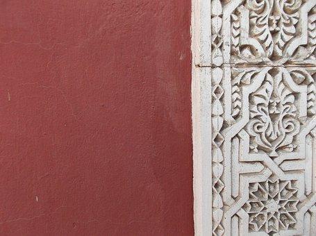 Wall, Marrakech, Pattern, Ox Blood Red