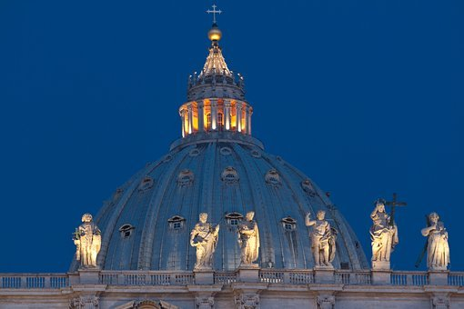 Rome, Night, St Peter's Basilica, Church, Architecture
