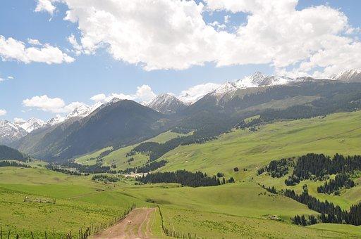 Prairie, Natural, The Kalajun, Road, Mountain