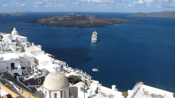 Greece, Santorini, Island, Sea View, Water, Sea, Ocean