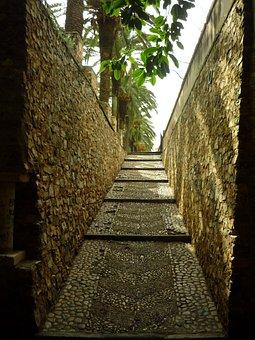 Stairs, Wall, Baluarte, Park, Portillo, Trees, Stones