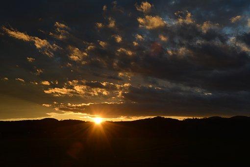 Sky, Clouds, Sunset, Spotlight, Evening Sky