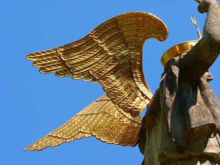 Michael's Fountain, Neresheim, Fig, Wing, Gold, Shine