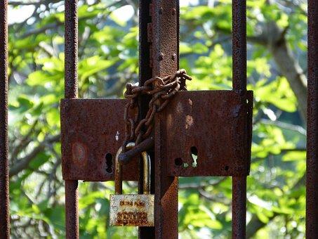 Closed, Symbol, Padlock, Abandoned, Bars, Rusty