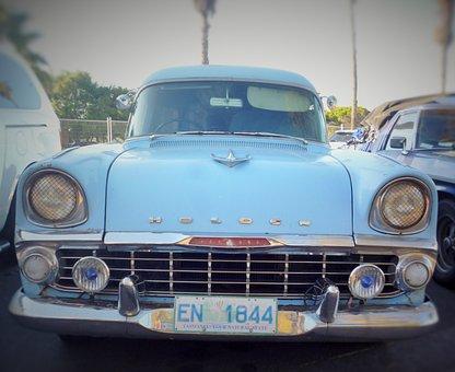 Car, Old, Weapon, Blue, Palm, Tree, Light, Fender