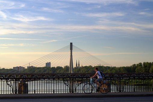 Warsaw, Wisla, Bridge, Bike, Cyclist, Cycle Path