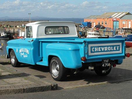 Chevrolet, Classic, Pickup, Car, Blue, Automobile
