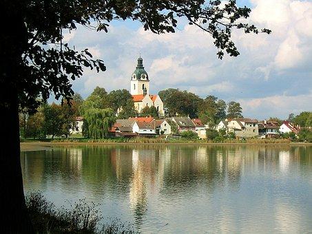 Church, Village, Idyllic, Pond, South Bohemia