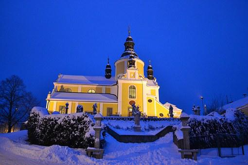 Church, Winter, Sky, Chlum U Třeboně, South Bohemia