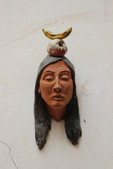 Indians, Head, Bust, Clay Figure, Ceramic, Banana