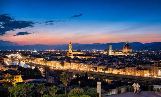 Florence, Skyline, Sunset, City, Italy, Europe, Tuscany
