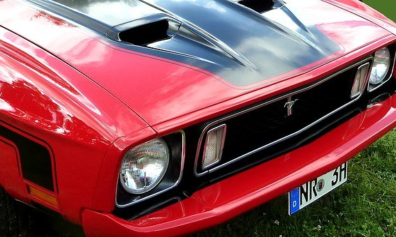 Mustang, Front, Auto, Sports Car, Lamps, Logo