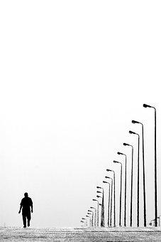 Alone, Lampposts, Lamps, Man, Road, Street Lamps