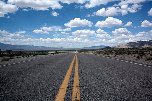 Desert, Horizon, Landscape, Lines, Perspective, Road
