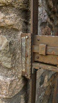 Lock, Bolt, Shut, Old, Safety, Steel, Antique, Gate