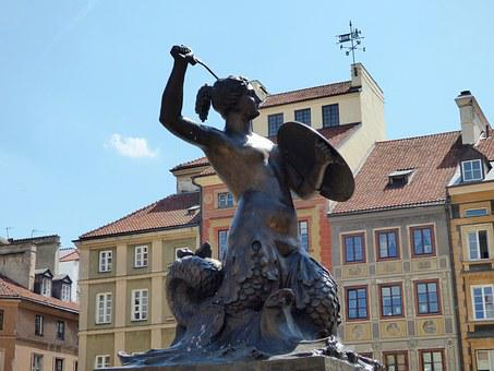 Fountain, Shield, Sword, Siren, Mermaid, Warsaw