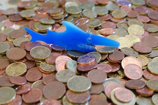 Money Shark, Coins, Cent, Specie, Fish, Shark, Blue