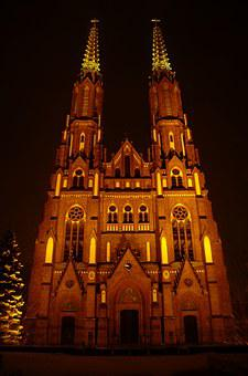 Night, The Cathedral, St Floriana, Warsaw