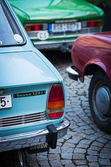 Skoda, Prague, Old Cars, Old, Retro, Blue, Car