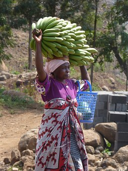 Afrikanerin, Bananas, Africa, On The Head Wear