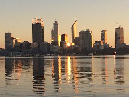 City, Perth, Australia, Skyline, Cityscape, River