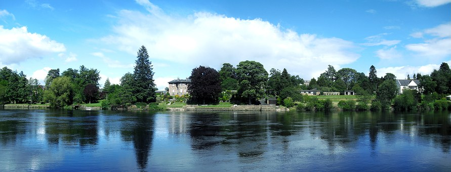 River, River Tay, Homes On Waterfront, Scotland, Water