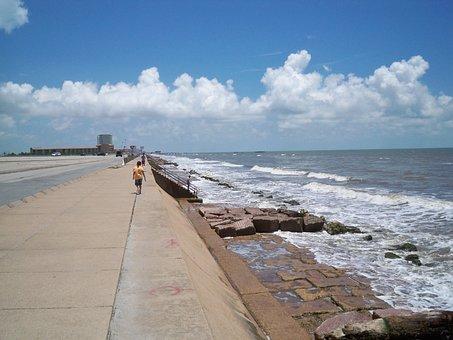 Sea, Shore, Coast, Rocky, Beach, Galveston Island