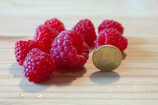 Raspberries, Large, Huge, Size Comparison, Coin
