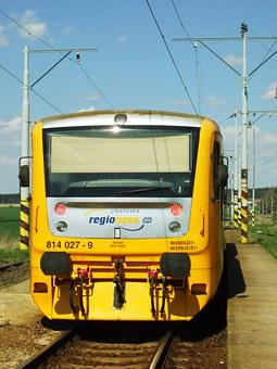 Railway, Yellow, Railcar, Transport, South Bohemia