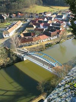 Bridge, Valley, River, Village, South Bohemia