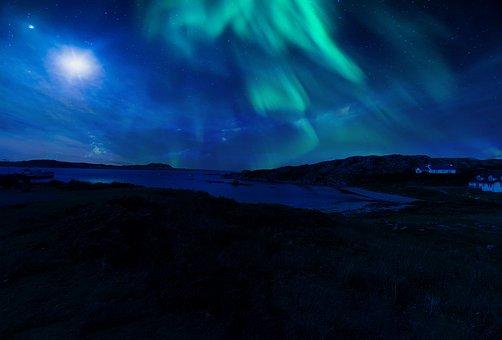 Scotland, Aurora, Northern, Lights, Night, Sky, Stars