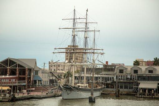 Galveston, Texas, Harbor, Ship, Sailing