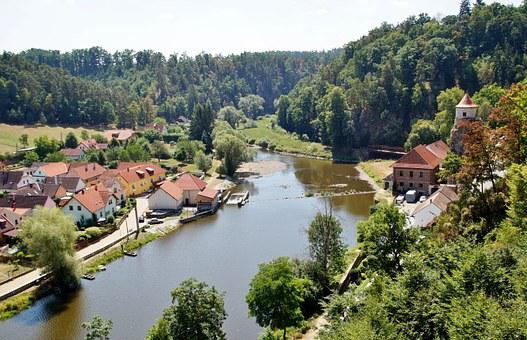 River, View, Village, South Bohemia, Bechyně