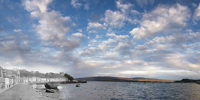 Scotland, Tobermory, Isle Of Mull, Old, Vintage, Clouds