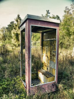 Phone Booth, Old, Nature, Abandoned, Ruin
