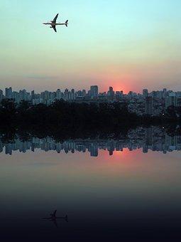 West, Sol, Eventide, Birds, Against Light, Sky, City