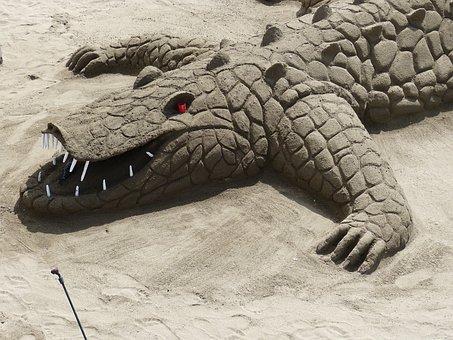 Sand Sculpture, Alligator, Crocodile, Sand, Vacations