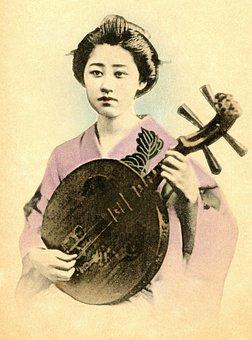 Geisha, Retro, Vintage, Japanese, Asia