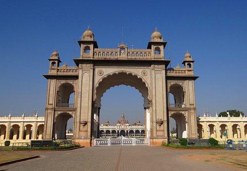 Gate, Mysore Palace, Architecture, Landmark, Entrance