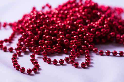 Beads, Red, Necklace, String, Decoration