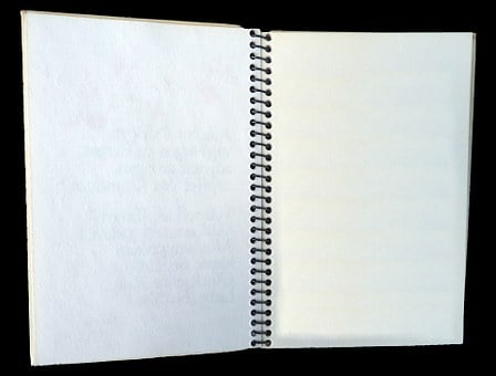 Notebook, Open, Isolated, Ring Spiral